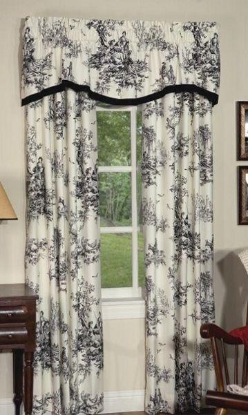 Lavish Black Ivory Classic Toile Lined Rod Pocket Curtains Rod