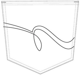 The mark consists of a stitching pattern displaying two lines that extend from the left side of the pocket to the right side. The lower line slopes downward from the left side of the pocket, makes an oblong-shaped loop, and then curves down and then up near the right side of the pocket. The upper line parallels the lower line, making a downward slope from the left side of the pocket, a slight dip upward, then curving down and back up again near the right side of the pocket.