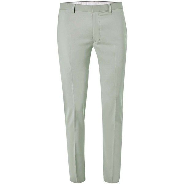 c7a734a6 TOPMAN Green Skinny Fit Suit Trousers ($53) ❤ liked on Polyvore featuring  men's fashion