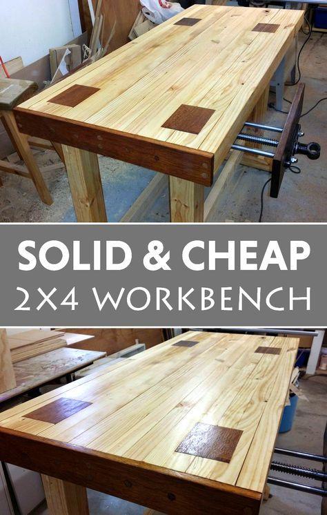 A Solid and Cheap 2x4 Workbench | Mesas de trabajo, Carpintería y ...