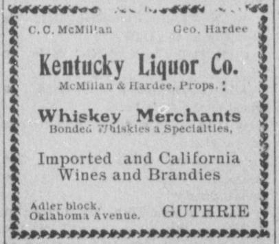 KENTUCKY LIQUOR CO GUTHRIE, O.T. Newspaper ad from 1902
