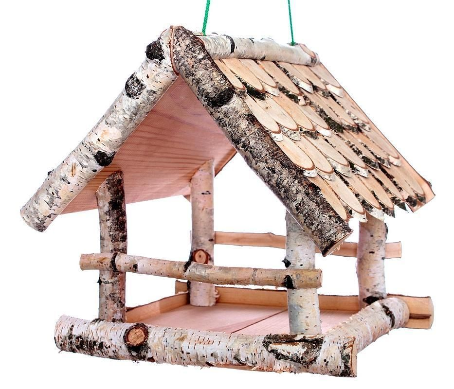 Vogelhauschen Birke Gross Holz Robust Vogelhaus Futterhaus Futterhauschen Hangen Garten Terrasse Dek Rustic Bird Feeders Bird House Feeder Wood Bird Feeder