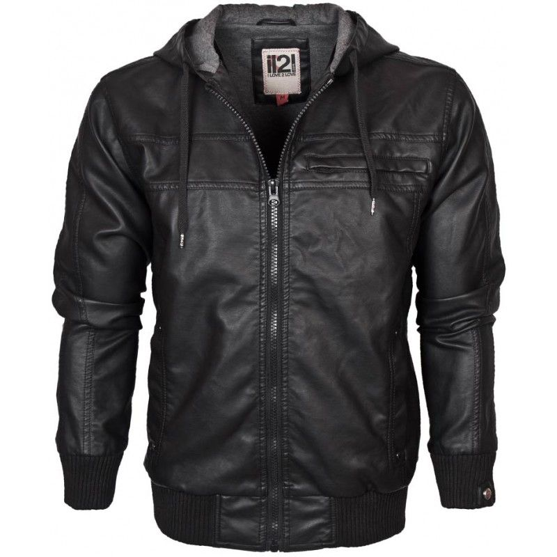 IL2L Men's Hooded Leather Look Bomber Jacket £44.99 | The Dressing ...