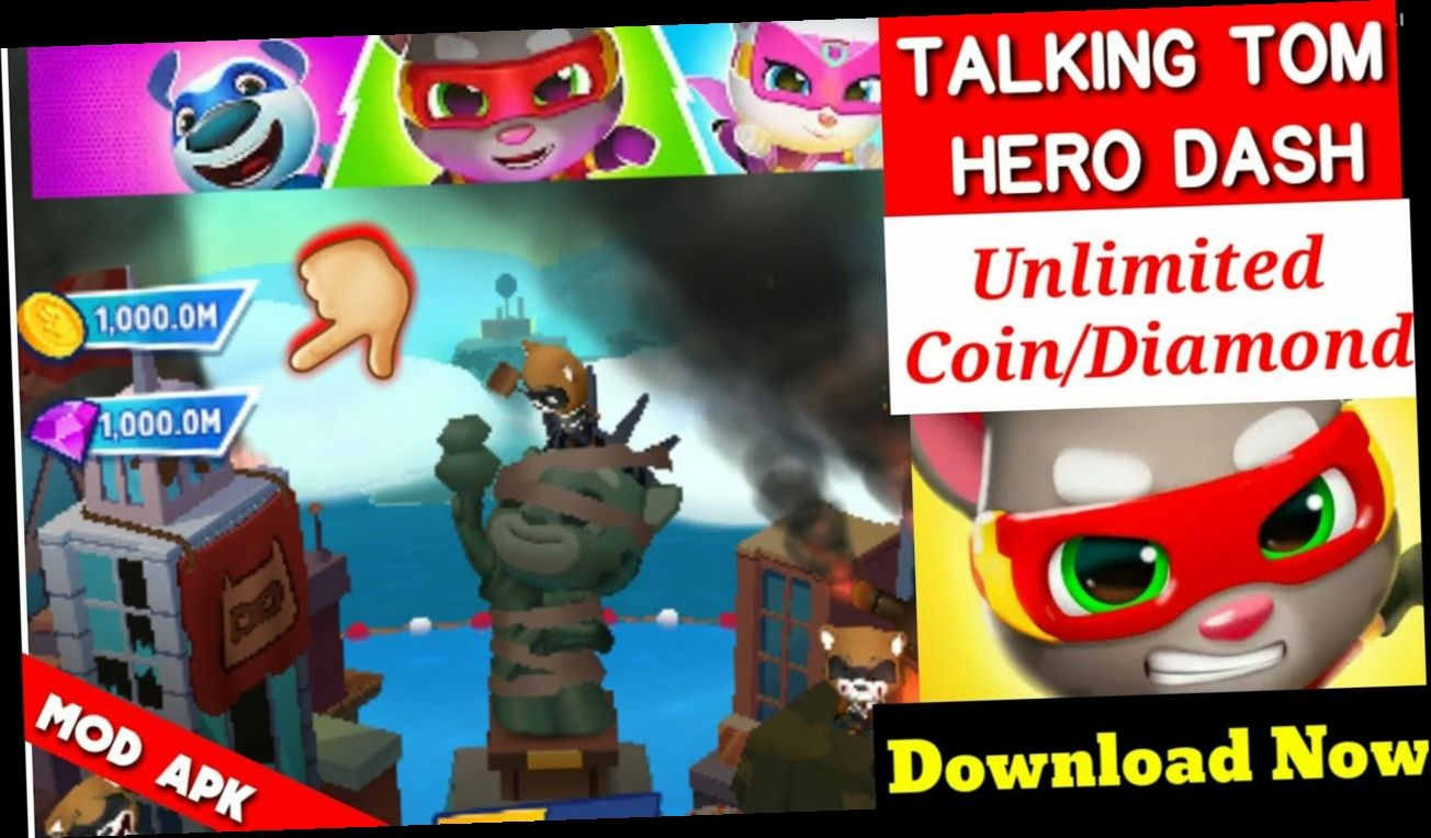 Talking Tom Hero Dash Cheat Download In 2020 Talking Tom Download Hacks Hero