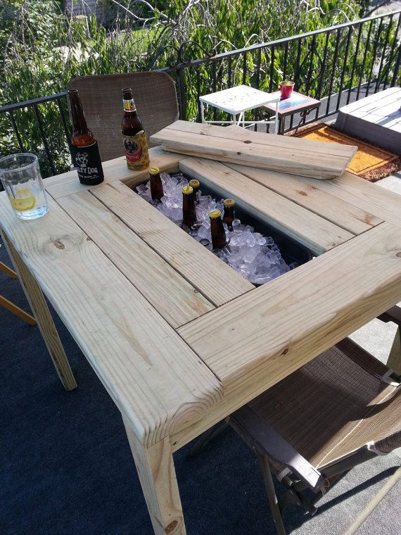 Patio Table with Ice Bin by TheAtticWoodshop on Etsy, $300.00