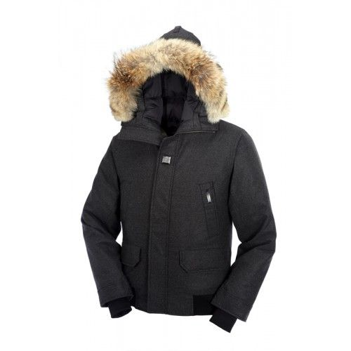 ff569990 ... where to buy canada goose parka menn yukon bomber fur hoody canada goose  jakke grå canada