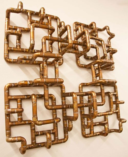 Sculptural copper tubing furniture and art by tj volonis for Plumbing copper to plastic