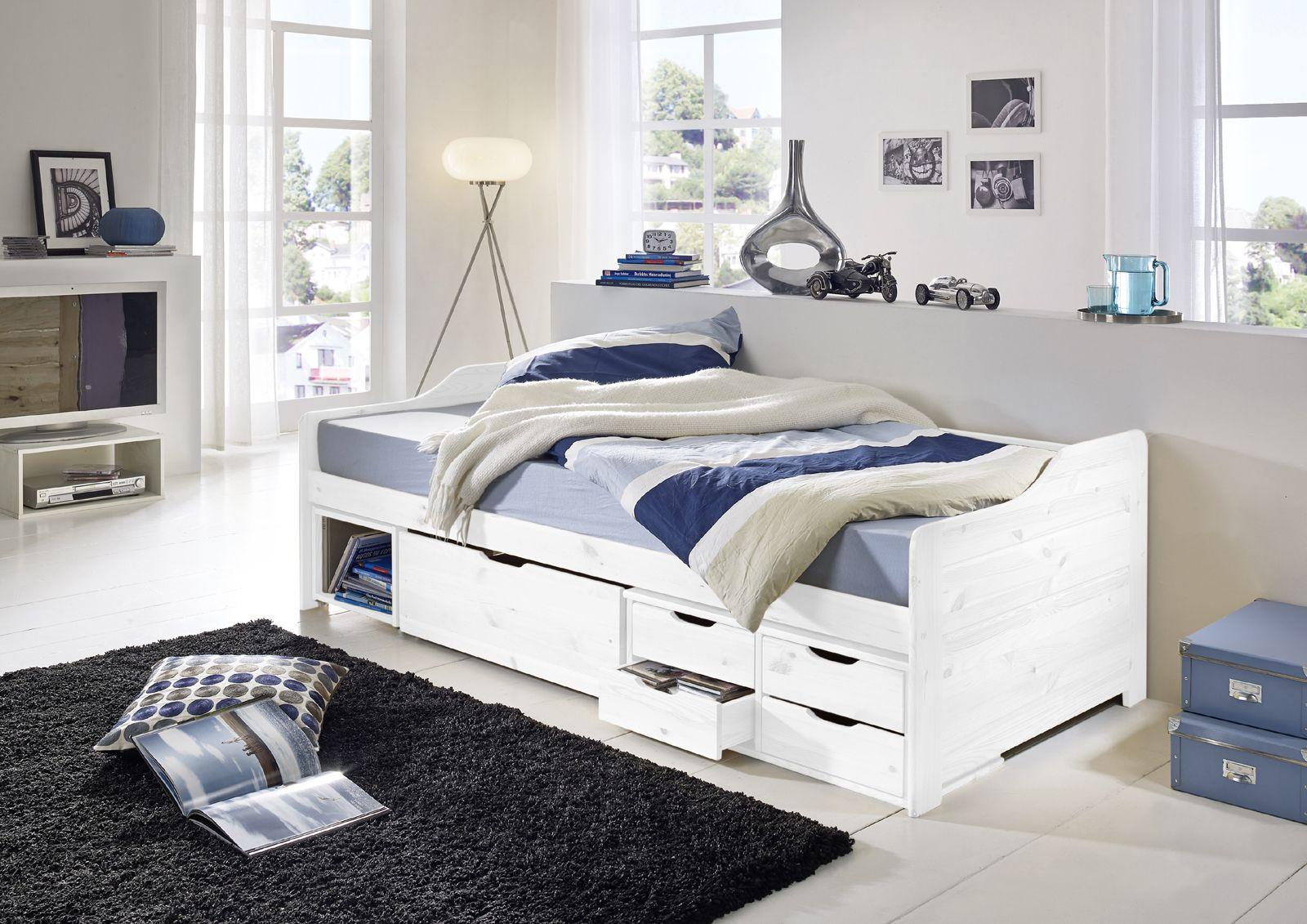 SAM® Holzbett 90 x 200 cm Kiefer massiv weiß gewachst