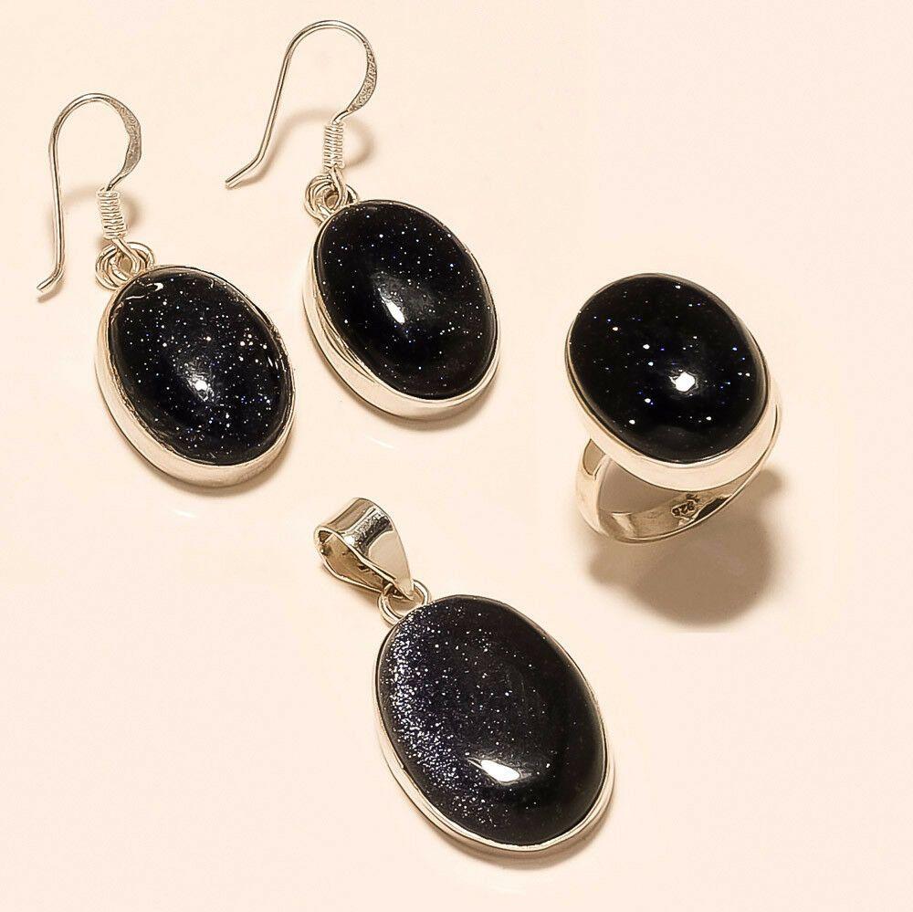 925 Sterling Silver Jewelry Set Natural Brazilian Blue Sunstone Handmade Women Jewelry Earring Pendant Women wedding Christmas Jewelry Gifts