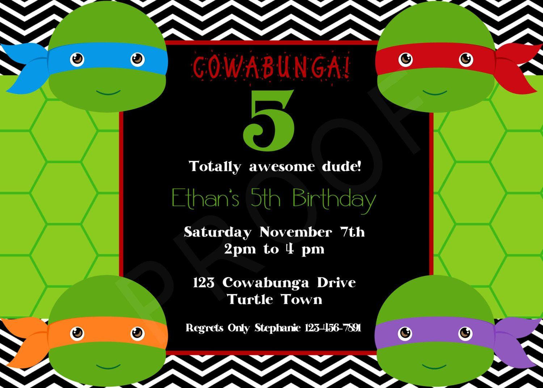 Teenage Mutant Ninja Turtles Invitation by MerrimentPress on Etsy – Teenage Mutant Ninja Turtle Party Invitations