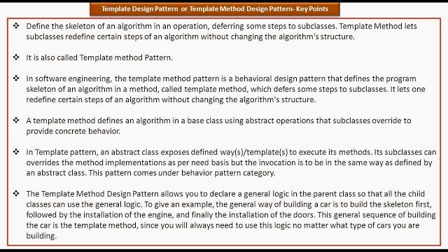 Template Design Pattern Or Template Method Design Pattern