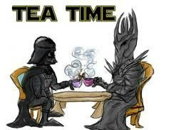Darth Vader and Tree Nymph having tea.