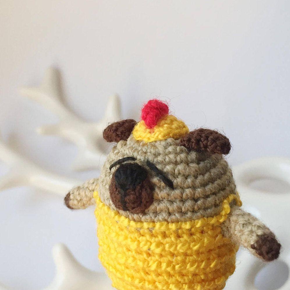 Crochet pug Amigurumi pug Crochet toy Chicken toy Crochet dog Easter ...