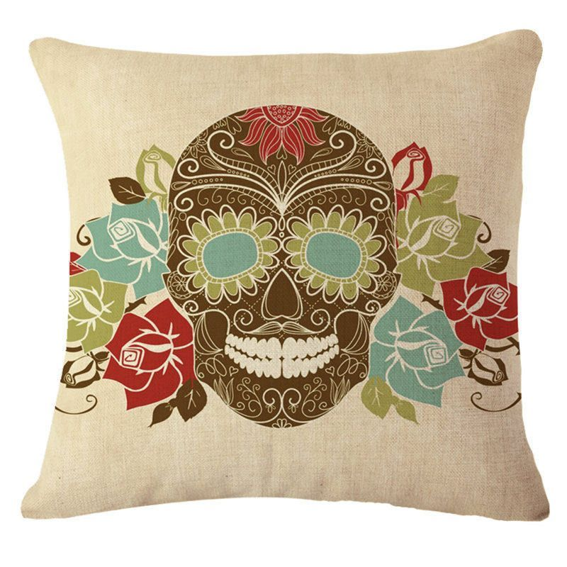 Hot Decorative Mexican Skull Home Sofa Decor Cushion with No Filling - halloween decorated cars
