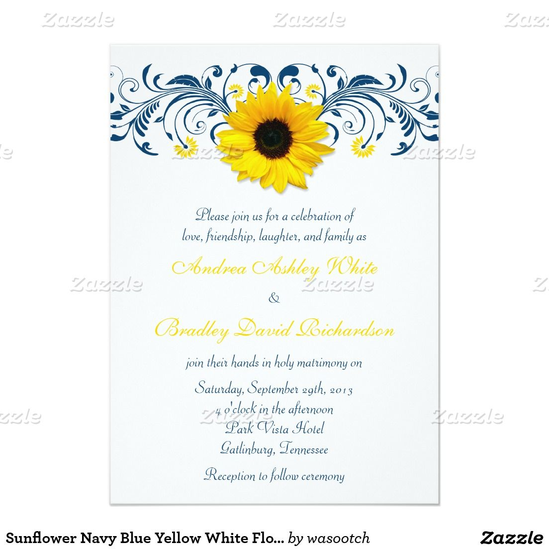 Sunflower Navy Blue Yellow White Floral Wedding Invitation