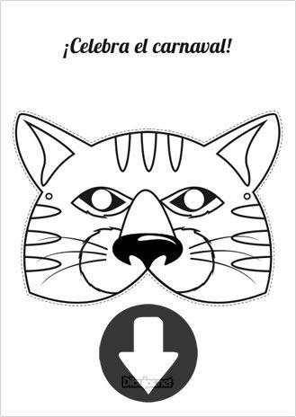 Mascara De Carnaval Gato Para Imprimir Y Colorear Karneval