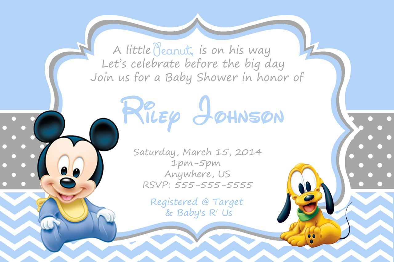 diy baby mickey mouse birthday invitation. printed baby mickey mouse ...