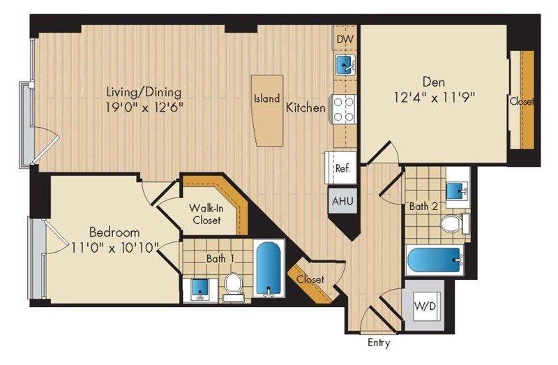 1 Bed 1 Bath Den Noma Floor Plans Luxury Apartments Two Bedroom Floor Plan