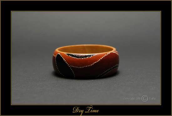 """Dry Time"" - Hand Painted Wooden Bracelet by Matilda-Dolls & Bracelets  SOLD"