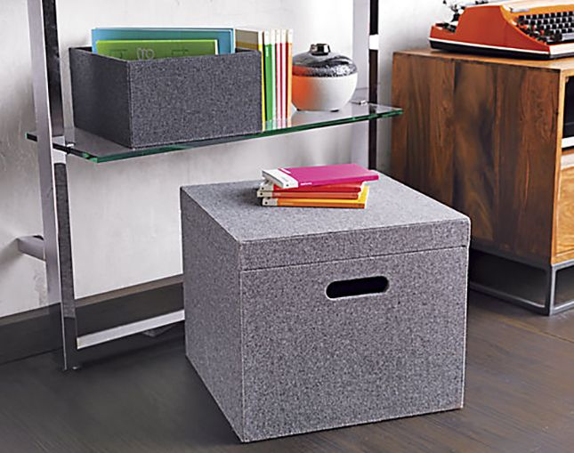 Grey Felt File Box Cb2 Memento Office Storage
