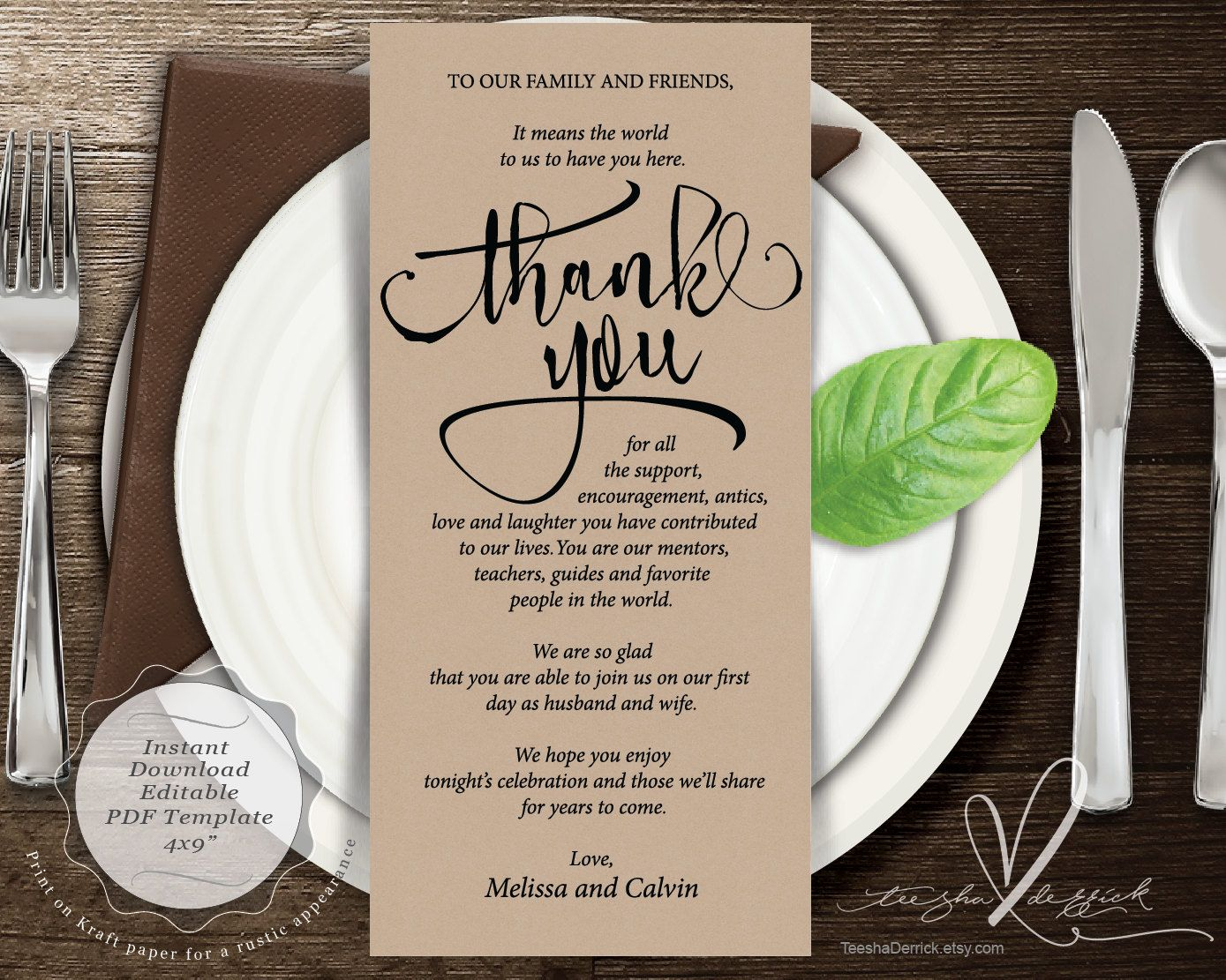 Wedding Place Setting Thank You Card Instant Editable Pdf Template Kraft