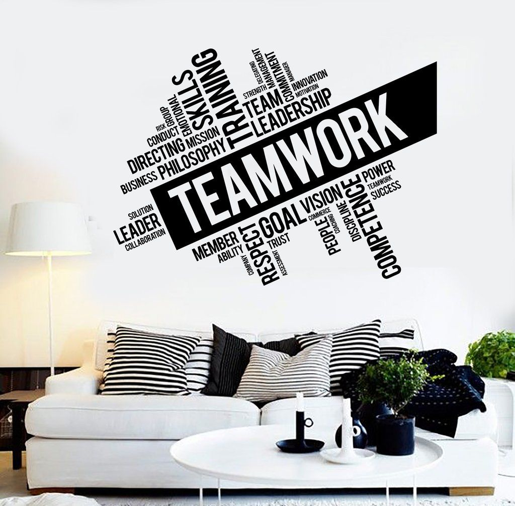 Teamwork vinyl wall decal word cloud success office decor for Wallpaper design for office wall