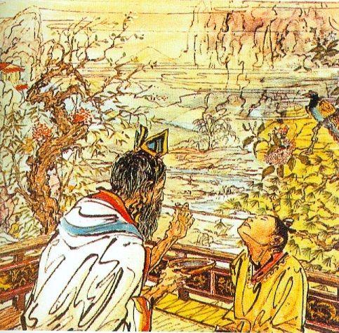 Insuflación de escaras de viruela (método chino de inoculación).
