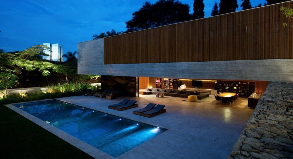 Pool Simple Pool House Designs Withl Lighting Night Ideas