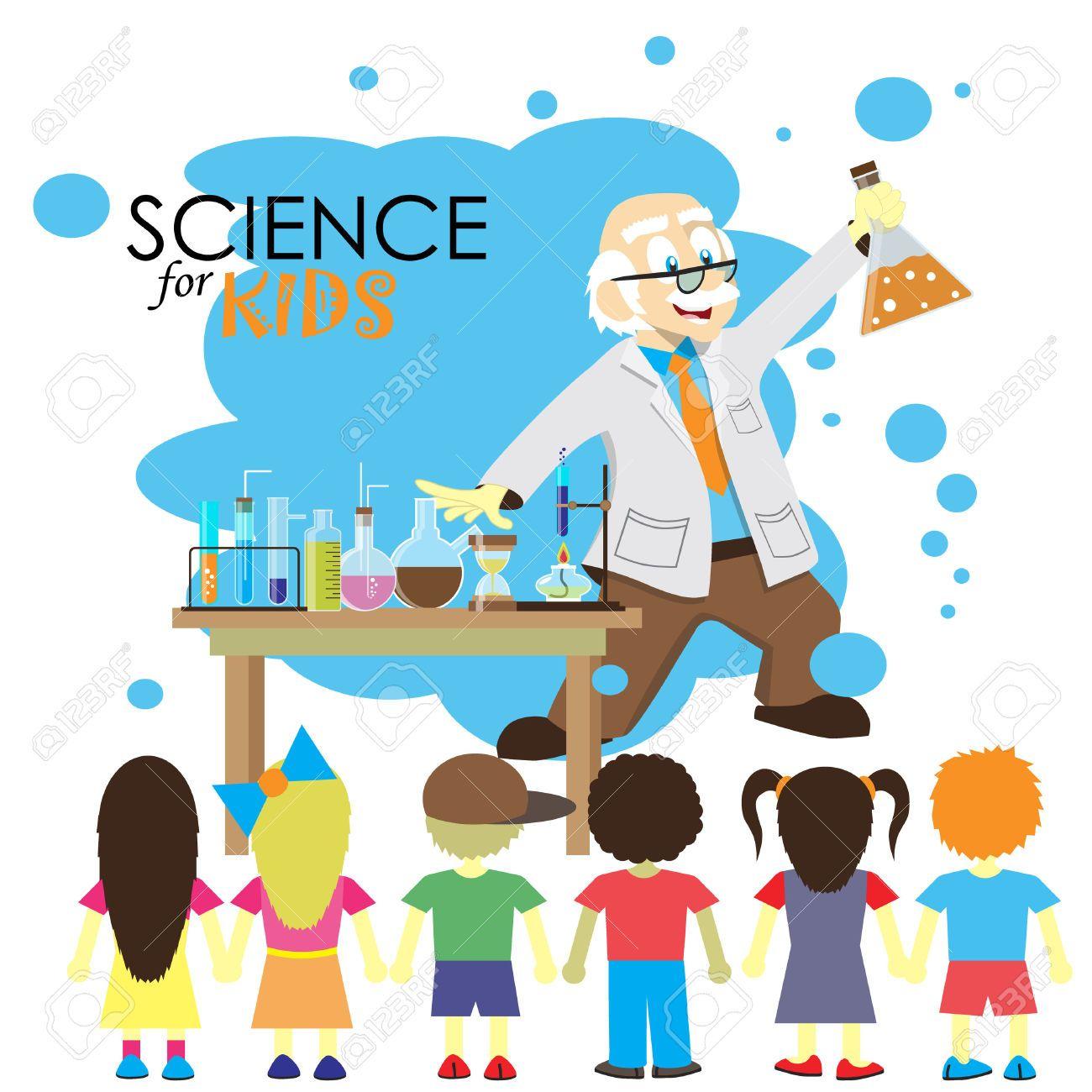 Ciencia Para Nios Cientfico De Dibujos Animados Muestra Al