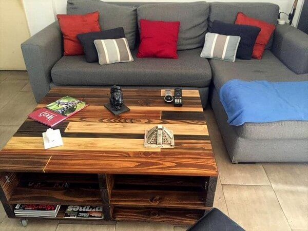 Pallet coffee table with storage wow that an amazing idea which we want to share with you, Keep remember in your mind that pallet are not good conditioned wood it is already used but when we polish it with colors then it become shine and after its furniture looks beautiful and gorgeous because of the doing polish or paint.