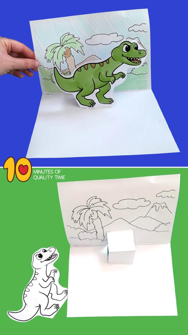 T Rex Pop Up Template Diorama Kids Fun Fold Cards Dramatic Play Preschool