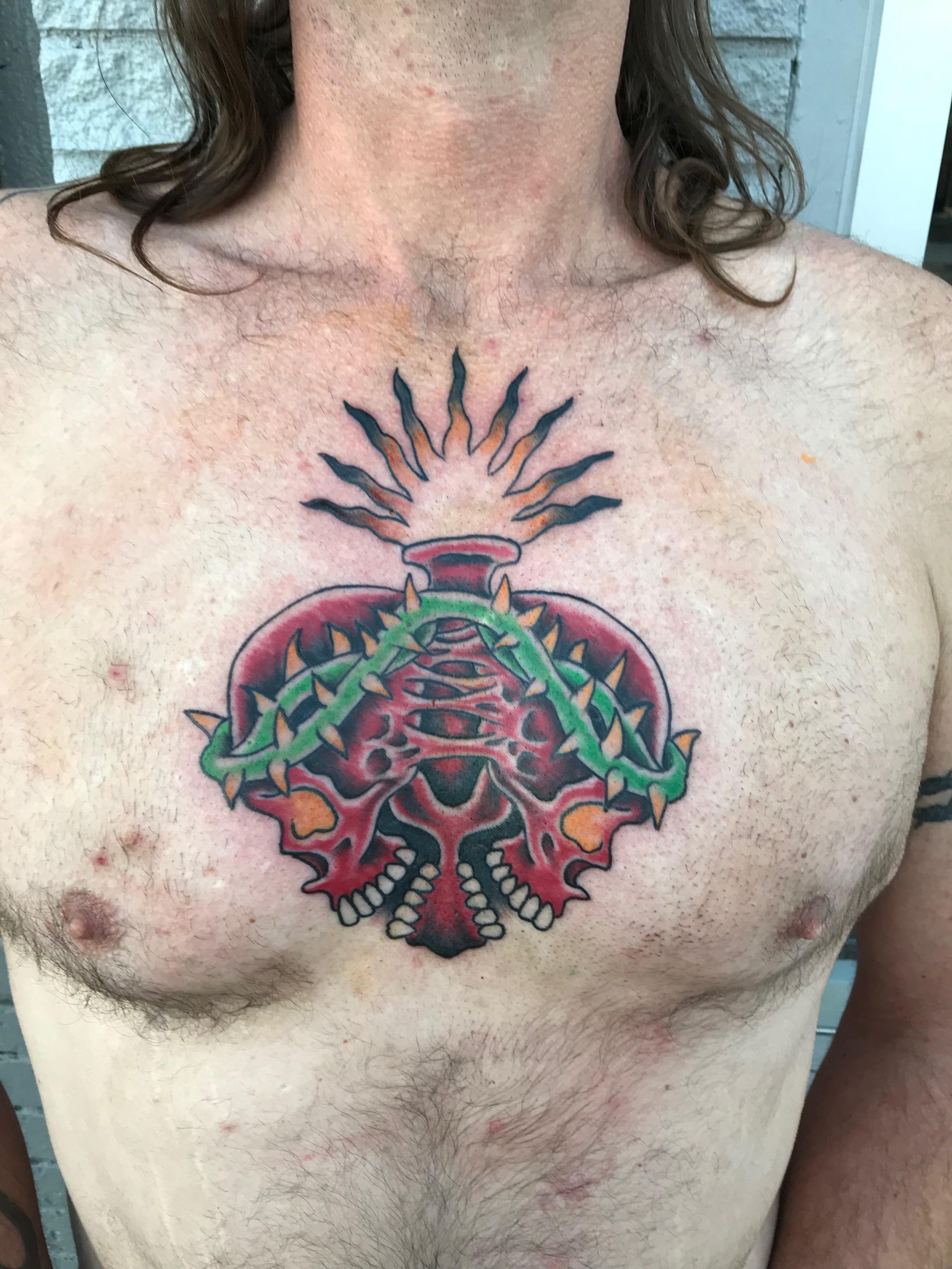 Sacred Heart Skull Splitter By Kyle Bart Tiger Tattoo In Spokane Wa Tiger Tattoo Tattoos Tattoo Designs