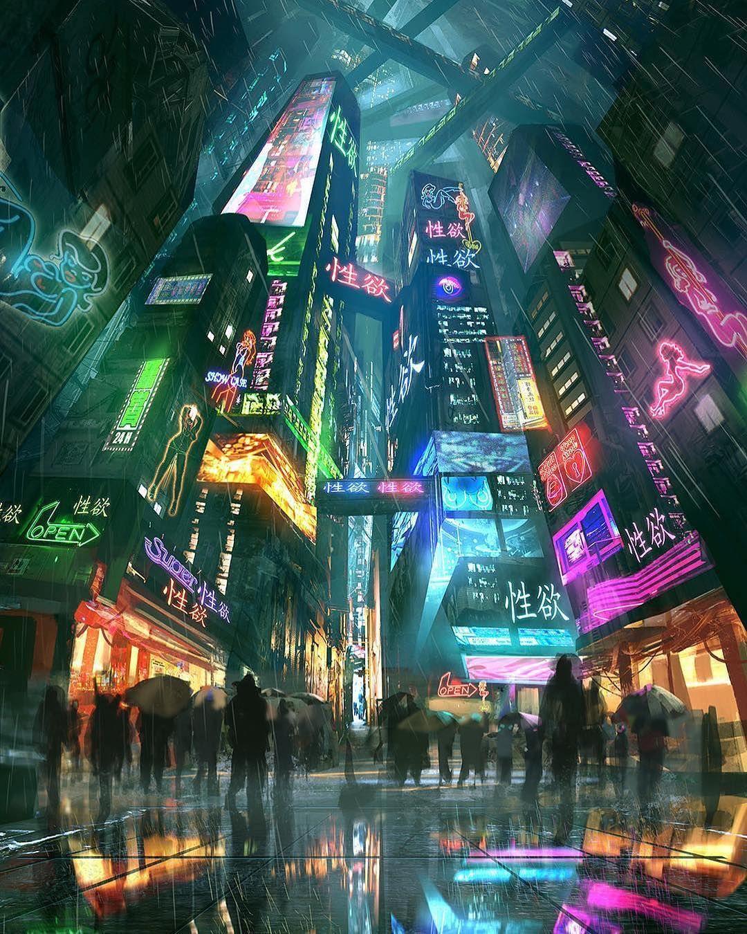 47++ Anime city neon lights ideas