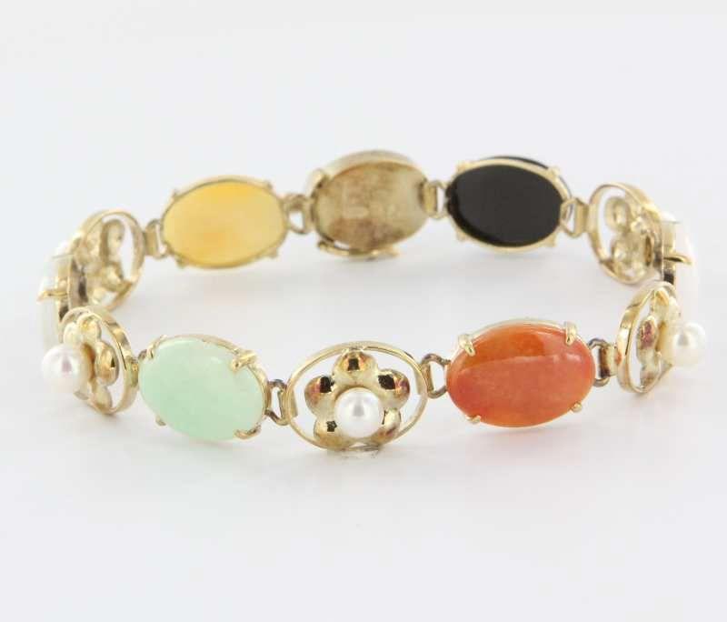 Vintage 18 Karat Yellow Gold Jade Cultured Pearl Bracelet Fine Estate Jewelry $695