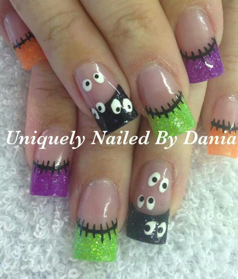 Neon Halloween acrylic nails | Nails Nails Nails | Pinterest ...