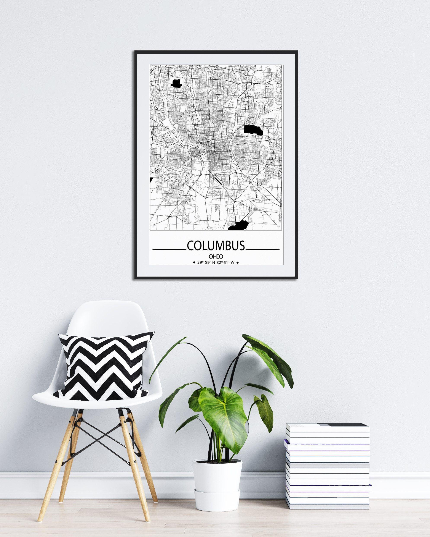 Columbus City Map Print Columbus Wall Art Prints Travel Maps Etsy Columbus Wall Art City Of Columbus Poster Wall Art