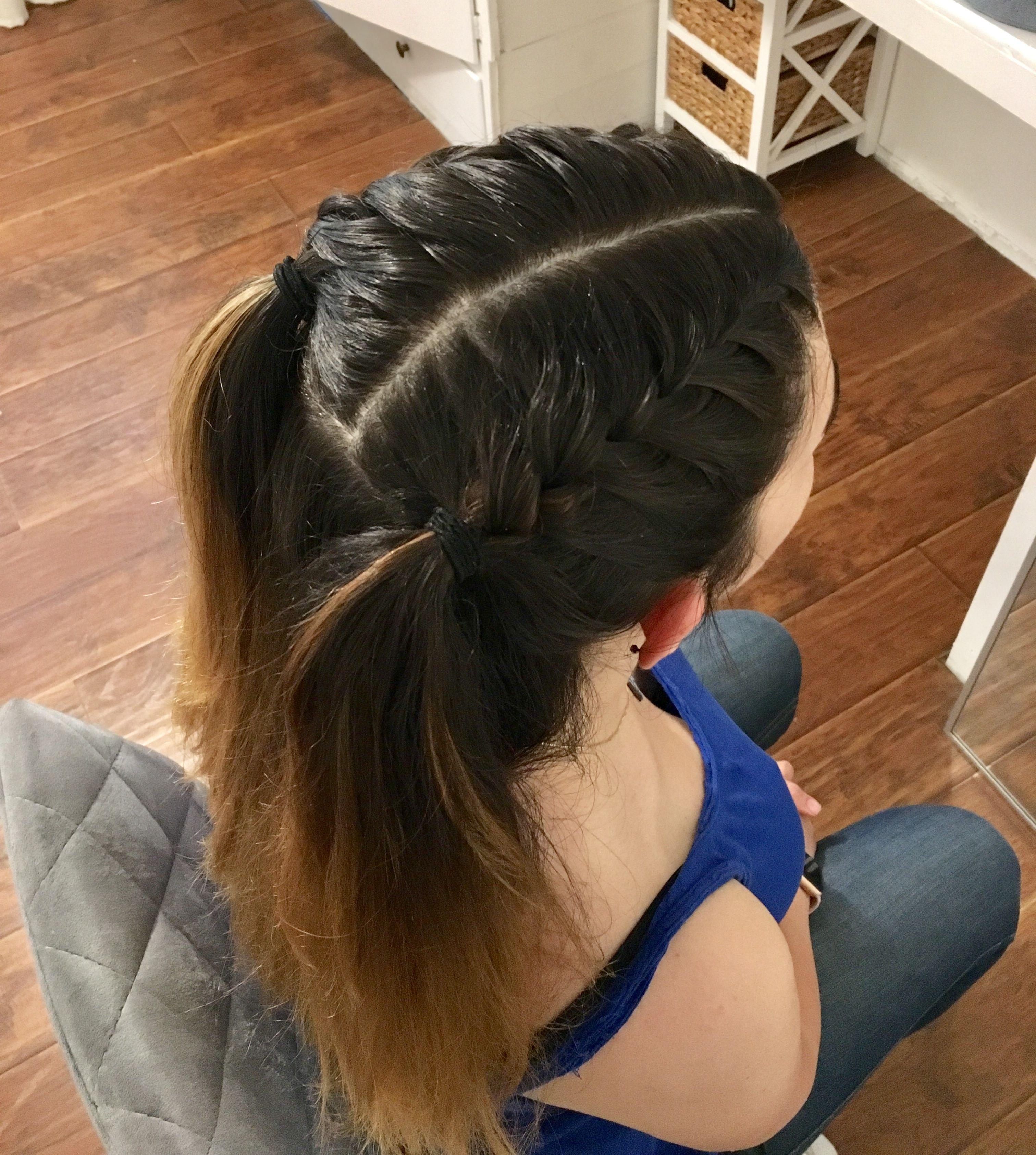 braid hair on top of head  easy simple hair  school hair