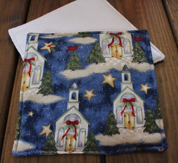 Small Country Church at Christmastime Hot Pad or Pot Holder