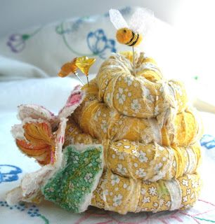 Beehive Pincushion wrapped cording with applique flowers fiberluscious: Gallery
