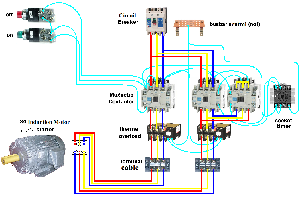 Wiring Dol Starter Motor Star Delta Elec Eng World Electrical Circuit Diagram Electrical Projects Electrical Engineering Projects