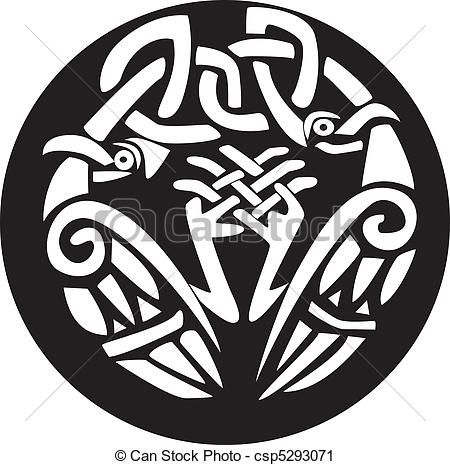 Vector Clip Art of Knotted viking birds design - A black and white ...
