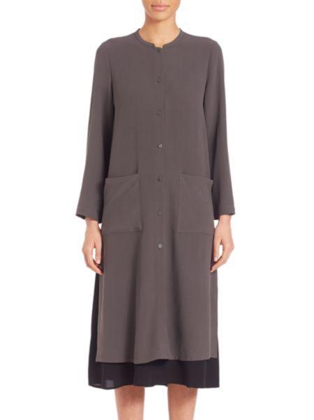 Eileen Fisher - Mandarin Long Silk Shirt