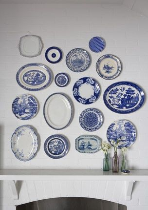 Blue And White Plates To Hang On Wall