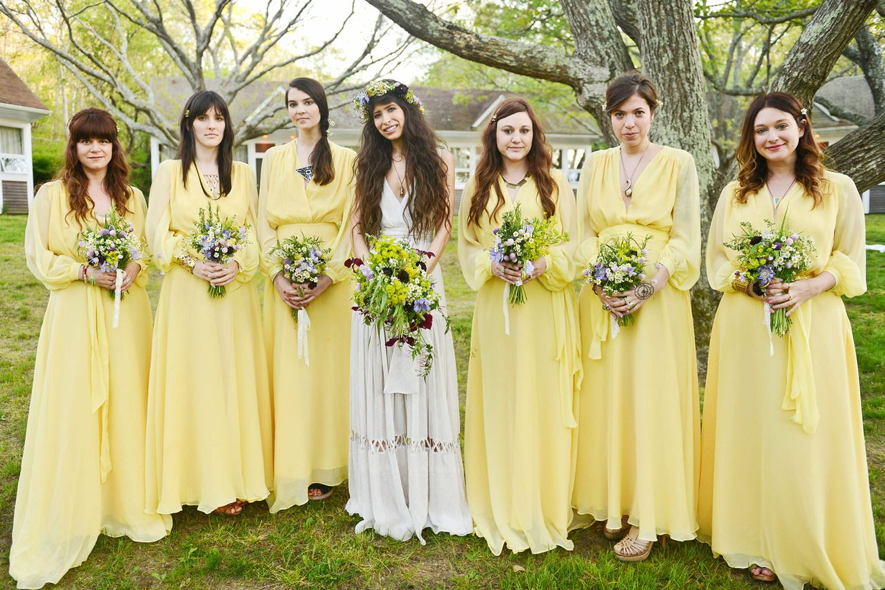 Yellow bridesmaids dresses from jewelry designer pamela loves yellow bridesmaids dresses from jewelry designer pamela loves boho flower child wedding ombrellifo Images