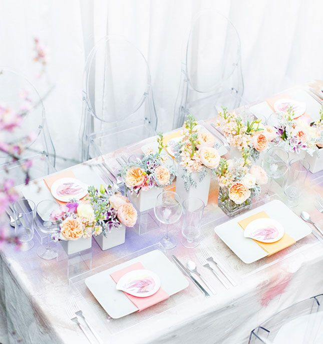 how gorgeous is this watercolor tablecloth wedding from brit co
