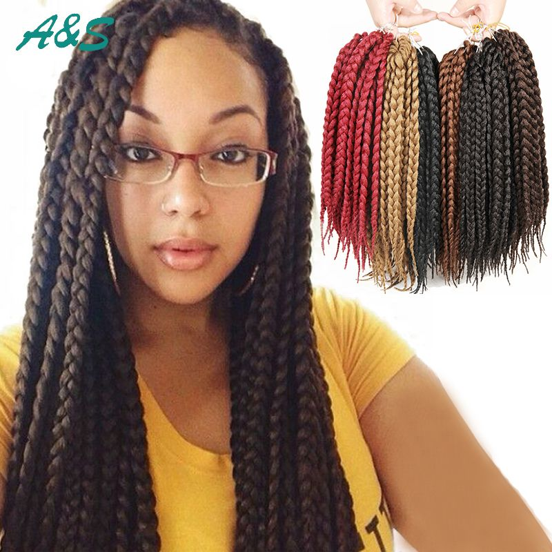 "Pin on 22' 18' 12"" Box Braids Crochet Braids Hair"