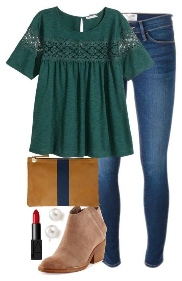 """""""going to see the nutcracker tonight:)))"""" by elizabethannee ❤ liked on Polyvore featuring Frame Denim, H&M, Dolce Vita, Clare V., NARS Cosmetics and Blue Nile"""