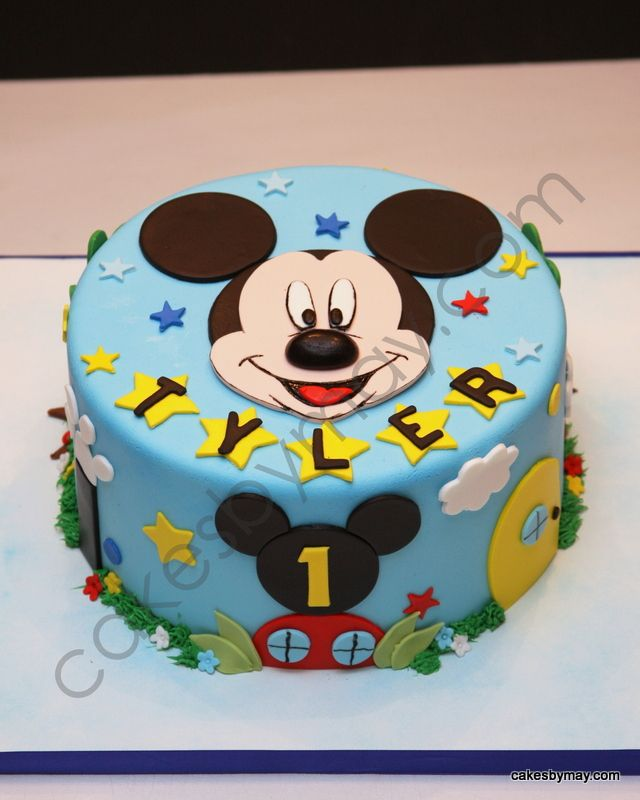 Magnificent Mickey Mickey Mouse Birthday Cake Mickey Cakes Mickey 1St Personalised Birthday Cards Bromeletsinfo