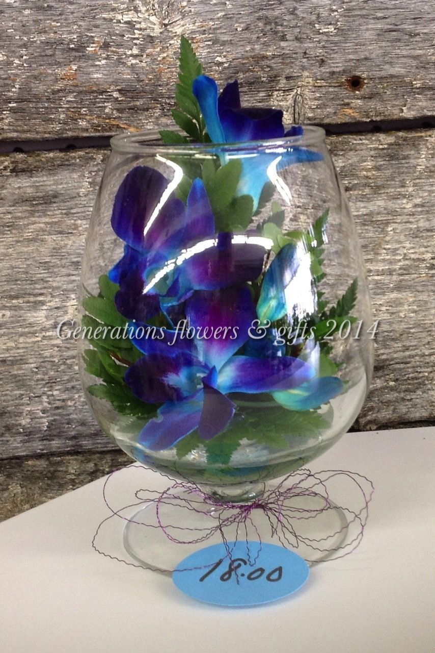 Blue Dendrobium Orchids in a Brandy Snifter - long lasting cute little arrangement