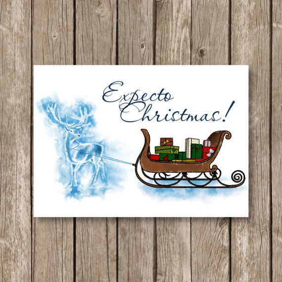 Printable Christmas Card Harry Potter Expecto Christmas Etsy In 2021 Watercolor Christmas Cards Printable Christmas Cards Harry Potter Christmas Tree
